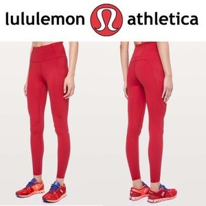 """NWT Lululemon Fast and Free 28"""" High Waisted, Red"""